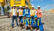 The drill crew of Nariki Minex Sajati pose for the camera during drilling at the Prima Sarana Gemilang coal mine on the Indonesian island of Kalimantran.