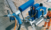 MEYCO Oruga FBS: Mobile spraying manipulator unit for mechanizing and automating concrete spraying.