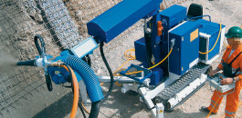 MEYCO Oruga FBS: Mobile spraying manipulator unit for mechanizing and automating concrete spraying.