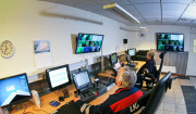 The Malmberget control room where each operator is in charge of two Simba drill rigs.