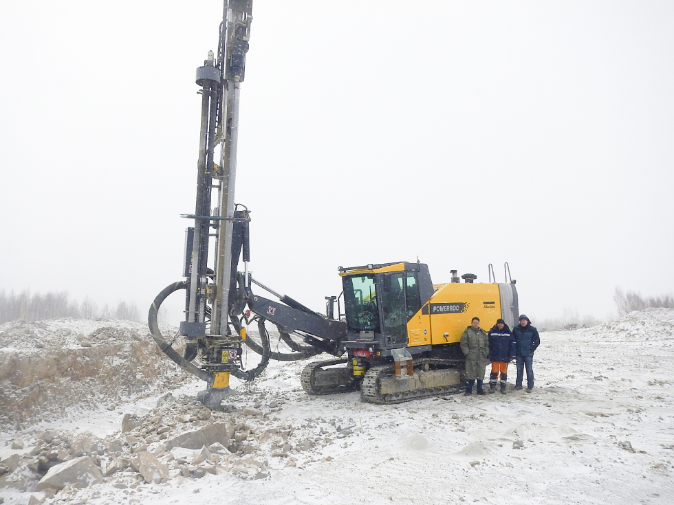 Tough rig for a tough climate: The PowerROC D55 in the remote Tynda district where mining company Priisk Solovyevsky is using it to access gold-bearing ore.