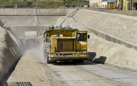 An Atlas Copco Minetruck MT5020 hauls out its load from the Kayad Mine.